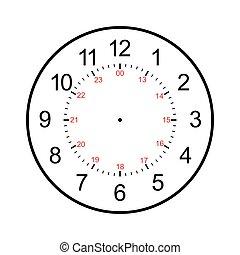 reloj, blanco, aislado, fondo blanco, cara