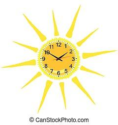 Reloj de luz amarilla ilustración del vector solar