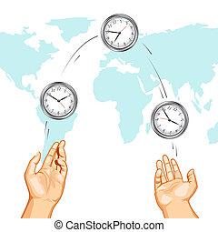 Reloj de malabares mostrando tiempos internacionales
