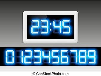 Reloj digital con un conjunto de números