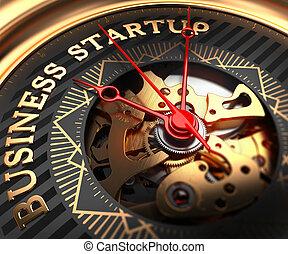 reloj, face., inicio, black-golden, empresa / negocio