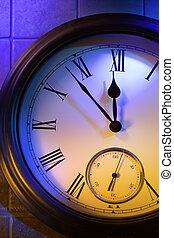reloj, medianoche, 5, misterioso, minutos, exposiciones