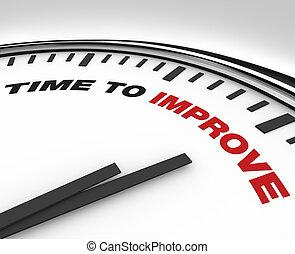 reloj, -, mejora, fecha tope, plan, tiempo, mejorar