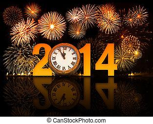 reloj, minutos, fuegos artificiales, medianoche, 5, año, 2014, el exhibir, antes