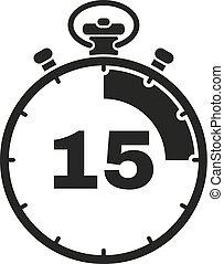 reloj, signo., minutos, reloj, app., ui., cronómetro, icon., design., símbolo., segundos, avisador, logo., 15, plano, web., cuenta atrás