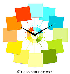 reloj, texto, creativo, diseño, pegatinas, su