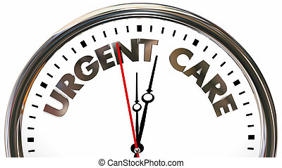 Reloj urgente de tiempo de emergencia palabras de reloj 3D ilustración