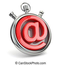 Reloj y símbolo de correo electrónico. Apoyo en línea.