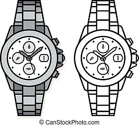 relojes de pulsera, contorno, dibujos, dos
