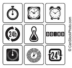 Relojes, iconos del tiempo listos