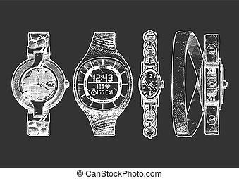 relojes, mujeres, conjunto