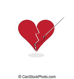 Remendando una ilustración del concepto de corazón roto