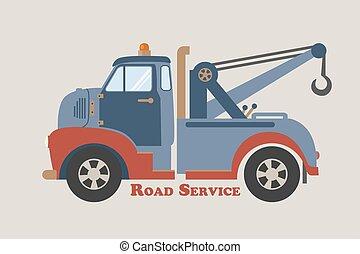 remolcar, camión, camino, servicio