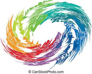remolino, colorido, image., resumen