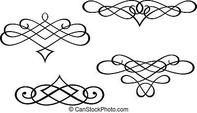 remolino, monogramas, elementos