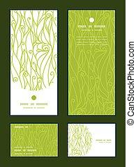 Remolinos abstractos del vector espirales de textura vertical de marco de saludo invitación, RSVP y tarjetas de agradecimiento listas
