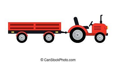 remolque, granjero, tractor, aislado, icono, fondo., blanco
