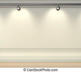 rende, pared, brillantemente, copia, -3d, espacio, lit, proyectores, blanco