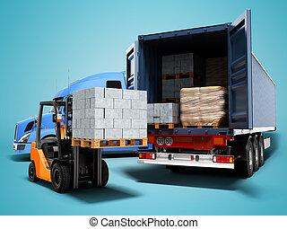 render, 3d, concepto, paleta, carga, azul, camión, descargar, carretilla elevadora, moderno, sombra, plano de fondo, tractor, materiales, carga, aislado, edificio
