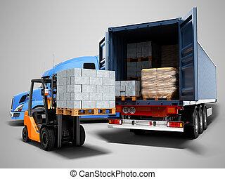 render, 3d, concepto, paleta, carga, azul, camión, gris, descargar, carretilla elevadora, moderno, sombra, plano de fondo, tractor, materiales, carga, aislado, edificio