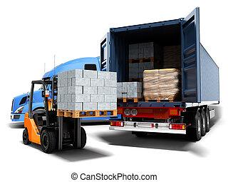 render, 3d, concepto, paleta, carga, blanco, azul, camión, descargar, contemporáneo, carretilla elevadora, sombra, plano de fondo, tractor, materiales, carga, aislado, edificio