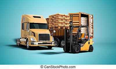 render, 3d, concepto, remolque, azul, camión, paleta, descargar, naranja, carretilla elevadora, sombra, moderno, plano de fondo, materiales, carga, aislado, edificio
