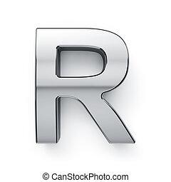 render, alfabeto, -, metalic, r, carta, simbol, 3d