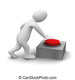 rendido, illustration., empujar, button., illustration.., 3d, rojo, hombre