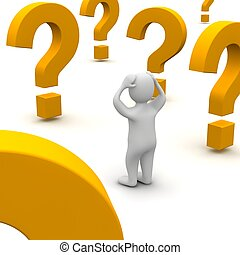 rendido, illustration., pregunta, confuso, 3d, marks., hombre