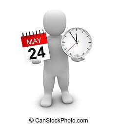 rendido, illustration., reloj, calendar., tenencia, 3d, hombre