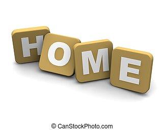 rendido, text., aislado, ilustración, white., hogar, 3d