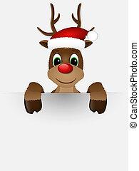 reno, nariz roja, santa, hat.