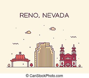 Reno Skyline Nevada vector USA estilo lineal de ciudad