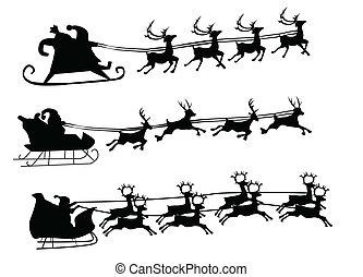 reno, vuelo, navidad, santa