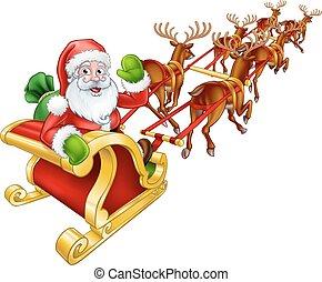 Renos de Navidad de Santa Claus y trineo de trineo