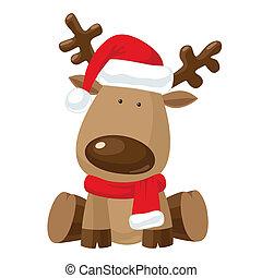 Renos de Navidad en el sombrero rojo de Santa