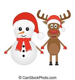 Renos de Navidad y muñecos de nieve