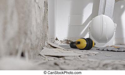 renovación, yeso, plano de fondo, pared, protector, herramientas, demolición, escombro, trabajo, blanco, amarillo, auriculares, copia, concepto, escalera, casa, casco, espacio, construcción