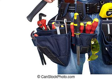 renovation., herramienta, construcción, belt.