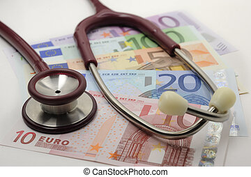 rentas, sector, estetoscopio, euro, salud, costes, billete de banco