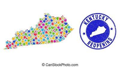 reopening, collage, kentucky, estampilla, mapa del estado, rasguñado