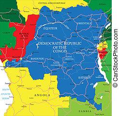 República Democrática del mapa de congo