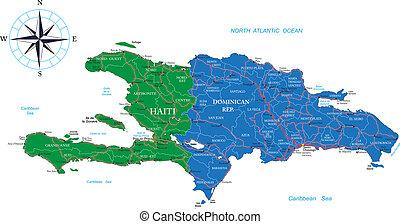 República Dominicana y mapa haiti