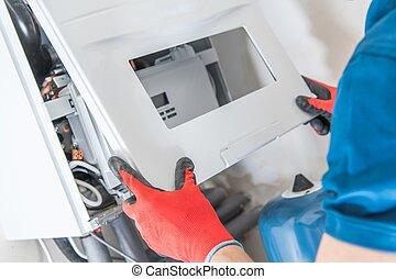 Repara el calentador de gas central