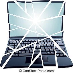 reparación, aprieto, pedazos, roto, computadora, computador portatil