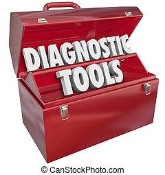 reparación, aprieto, solución, diagnóstico, palabras, caja de herramientas, herramientas, problema