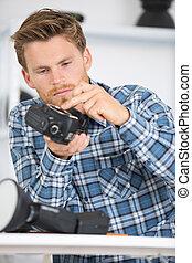 reparación, cámara, estudiar, hombre, cómo