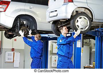 reparación, coche, trabajo, mecánico, automóvil, suspensión