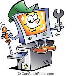 reparación, computadora, mascota