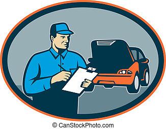 reparación, conjunto, automóvil, dentro, portapapeles, mecánico, coche, oval.